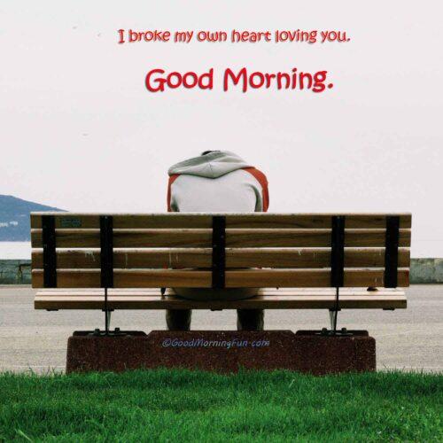 I broke my own heart loving you - Good Morning