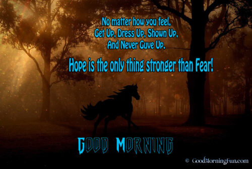 Good Morning Horse in Forest - Never Give Quotes on Hope