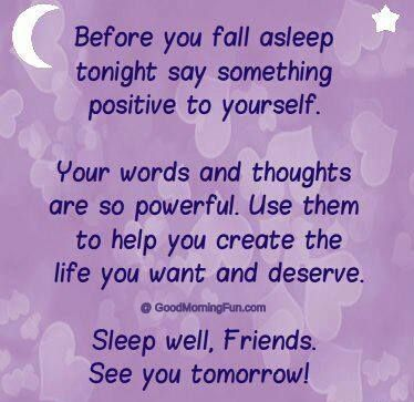 Good Night Positive Words and Thoughts