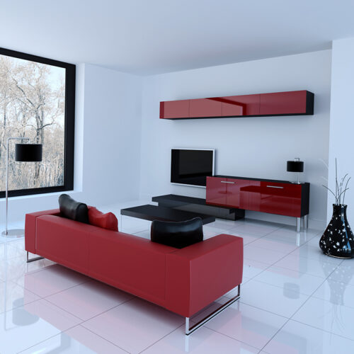 Classic Red Color TV Cabinet