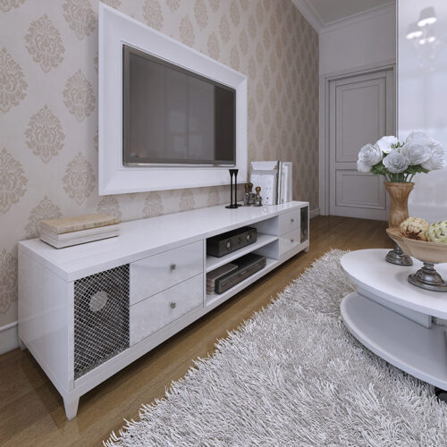 Glossy TV Wall Unit with design