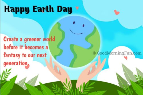 Happy Earth day Greenery message