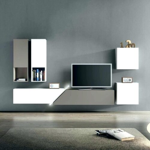 Modern TV Cabinet - Blue - Dark Grey color