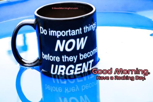Morning encouragement quote- Do important things now before they become urgent