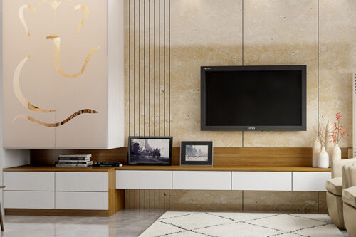 TV Cabinet with Pooja Cabinet