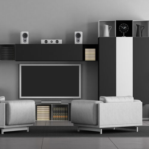 White and black TV Wall Unit