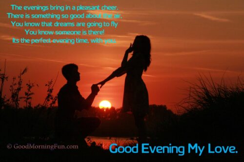 Good Evening Romantic Love Quotes With Couple