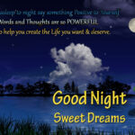 Good Night Motivational Quote With Beautiful Moon, Clouds and River