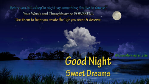 Beautiful moon river clouds good night motivational quote