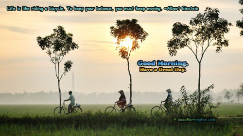 Good Morning Wishes About Life - Bicycle - Sunrise