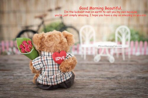 Bear toy holding Red rose flower with Good Morning wishes