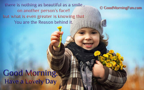 Good Morning Smile Quotes - Flower offering cute baby girl