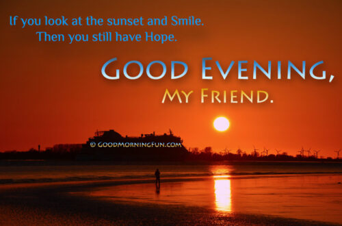 Good Evening Quotes with beautiful sunset