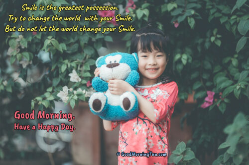Make the world Smile Quotes - Good Morning Smiling Baby