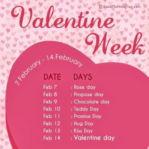 Valentine Week List 2020 - Rose Day - Propose Day - Hug Day - Kiss Day - Chocolate Day