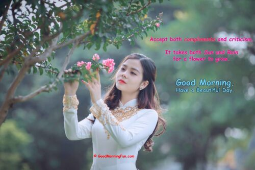 Beautiful Girl Plucking Flowers - Good Morning
