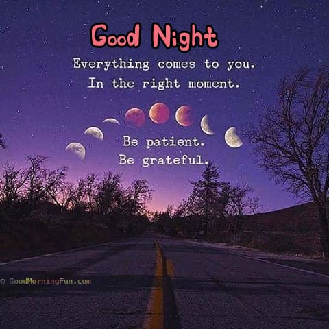 Everything comes to you in the right moment - Be patient and be grateful - Good Night
