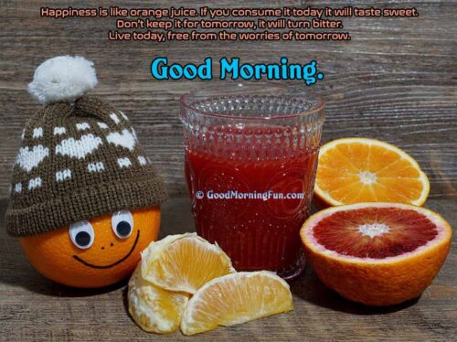 Good Morning Happiness is like Orange Juice Quote