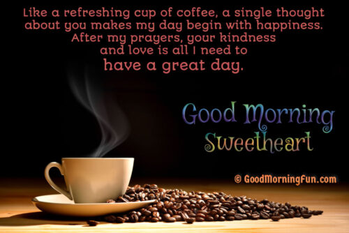Good Morning With Coffee Cup and Coffee Beans