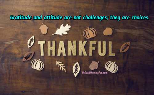 Gratitude and attitude are not challenges; they are choices