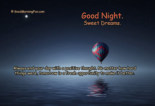 Inspirational Good Night Quotes about positive thoughts