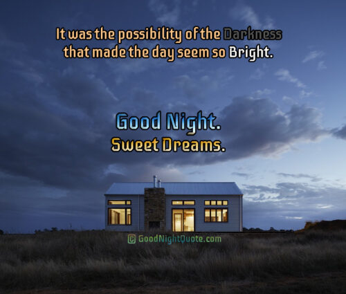 It was the possibility of the darkness that made the day seem so bright - Good Night