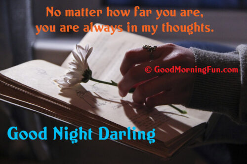 No matter how far you are, you are always in my thoughts - Miss you Good Night Quote