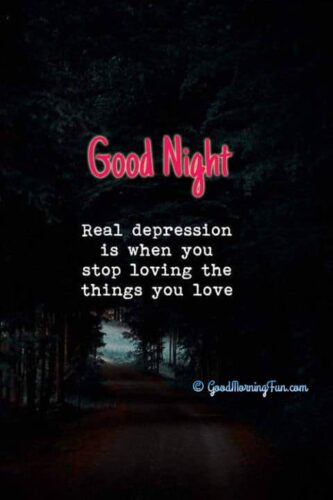 Real depression is when you stop loving the things you love - Good Night